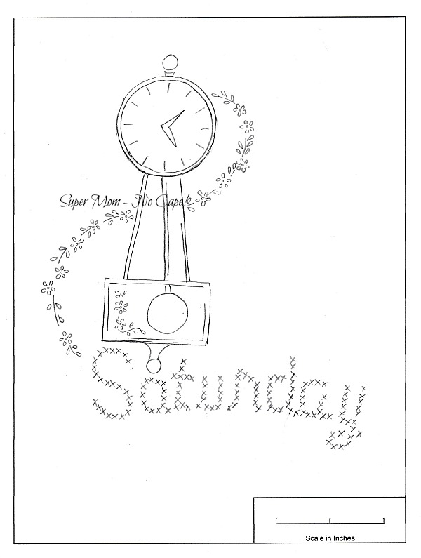 Vintage Embroidery Monday – DOW Saturday Clock