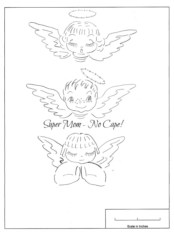 Pattern for three little angels from Vintage Workbasket Pattern Sheet 64