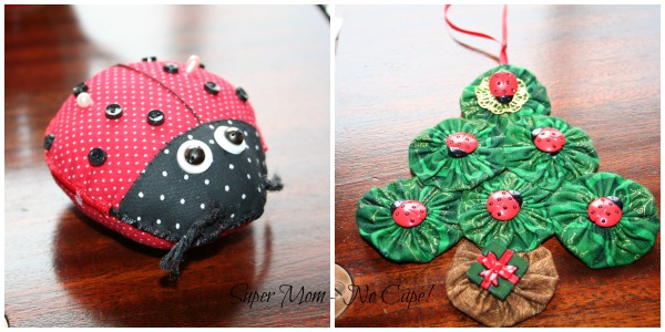 Ladybug Pincushion and yoyo Christmas tree.