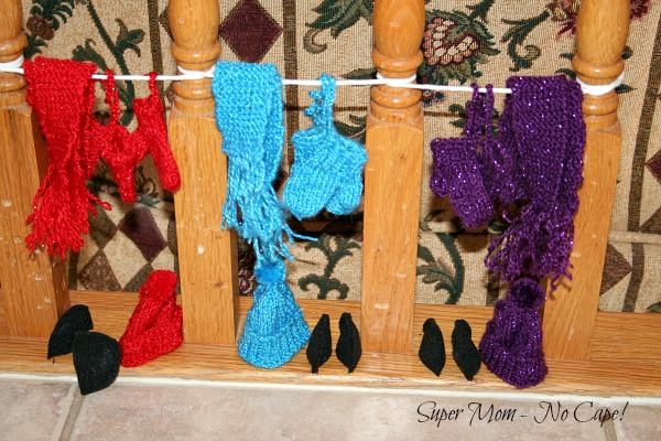 Mini Elven Winter Wear hanging up to dry.