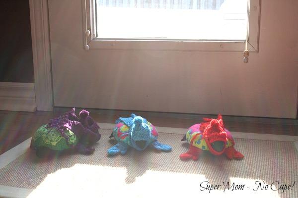 Three Hexie Turtles ready to go outside.