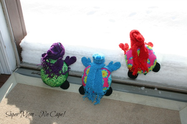 Photo of Hexie Turtles Climbing the snowbank
