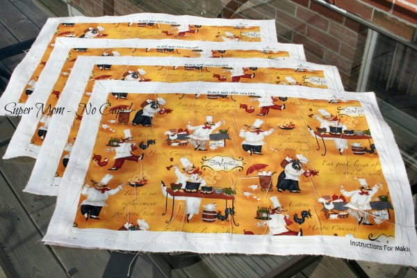 Chefs cooking placemats ready to quilt