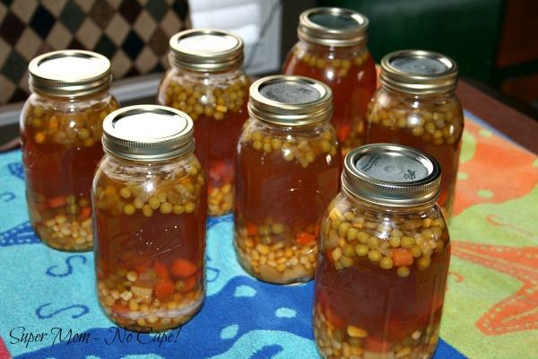 Quarts Jars of Homemade Organic Chicken Vegetable soup