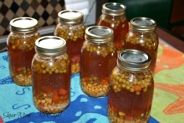 Quarts Jars of Homemade Organic Chicken Vegetable soup