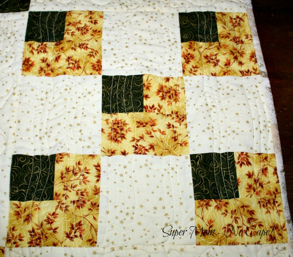 Block quilted with gentle wavy lines