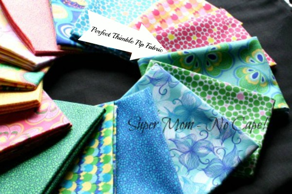 The fabric with the arrow pointing to it is perfect for fussy cutting to make thimble pips.