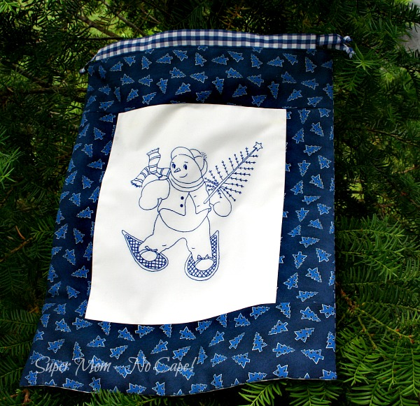 Embroidered Snowman Drawstring Gift Bag