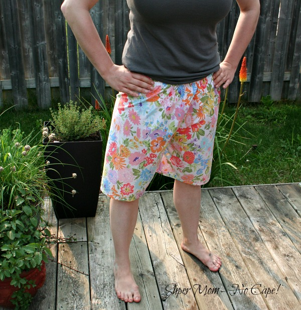 PJ shorts made from vintage thrifted sheets
