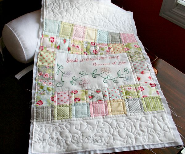Seeds of Friendship Bolster with quilting completed