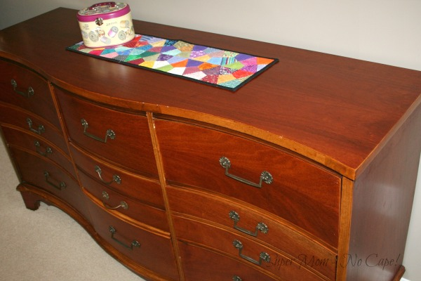 Photo showing the curved front of my 9 drawer dresser