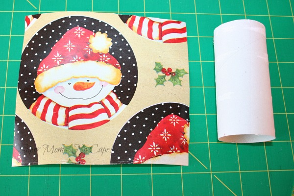 Step 1 - 6x6 inch piece of wrapping paper and toilet paper roll
