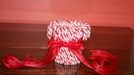 Candy Cane Vase with Bow