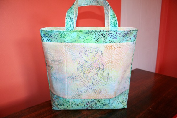 The embroidered owl tote I made for Debbie
