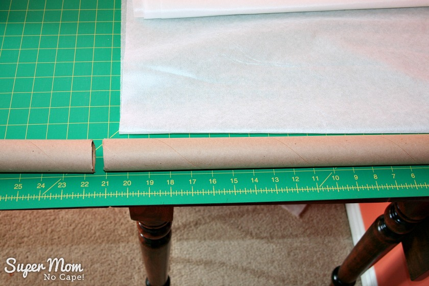 2. Cut wrapping paper tube a little larger than the width of the interfacing