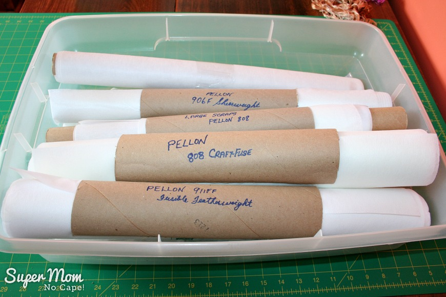 7. Rolls of interfacing in the top of the storage bin