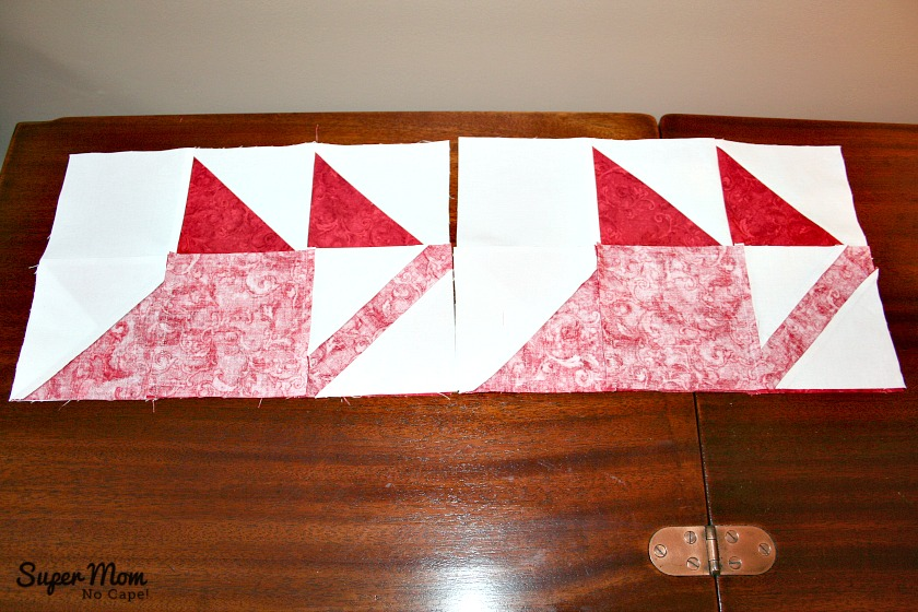 Maple Leaf Blocks - Step 10A Flip the bottom row up over the middle row and sew