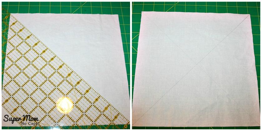 Maple Leaf Blocks - Step 2 Draw 2 diagonal lines forming an X