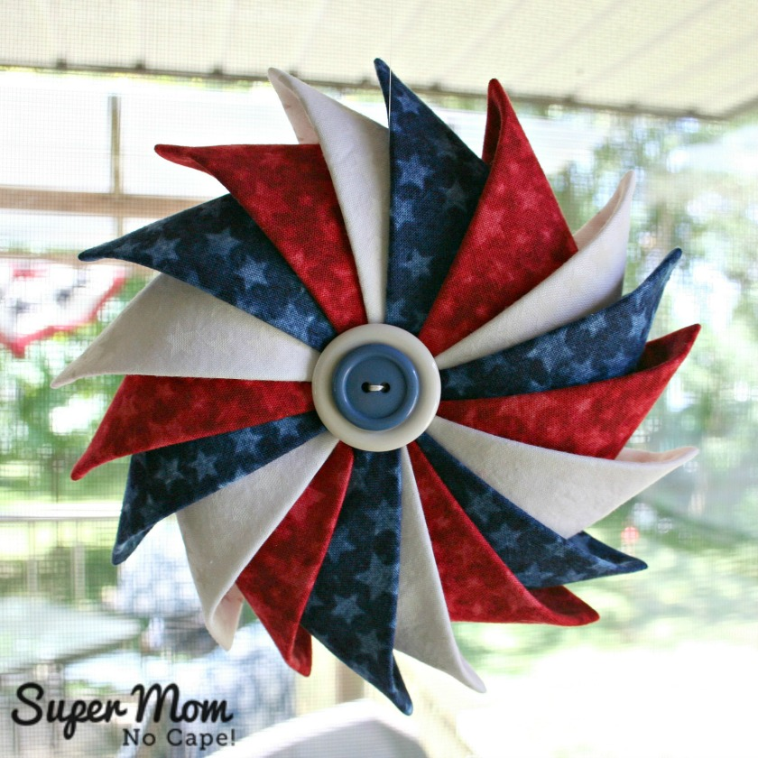 Red White and Blue Patriotic Prairie Point Star Ornament