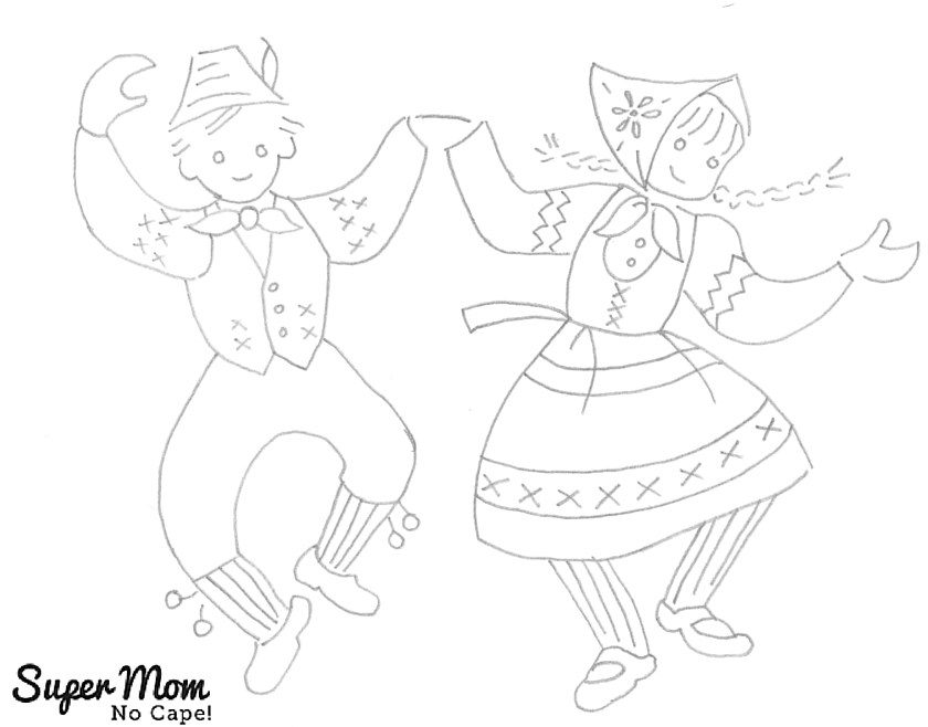 Vintage Workbasket Embroidery Pattern - Dancing Children