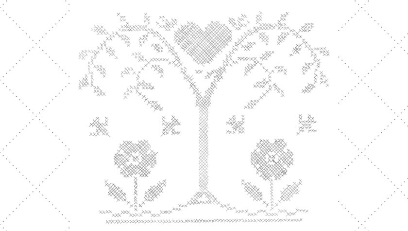 Vintage Workbasket Embroidery Pattern -- Heart Tree