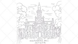 Vintage Workbasket Embroidery Pattern - Independence Hall