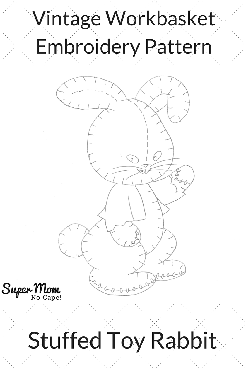 Vintage Workbasket Embroidery Pattern - Stuffed Toy Rabbit