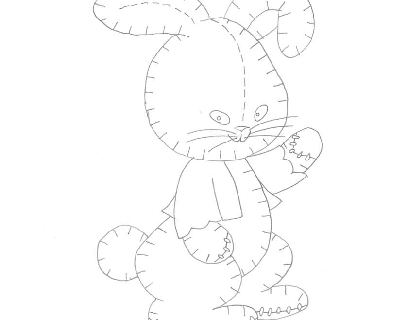 Vintage Workbasket Embroidery Pattern - Stuffed Toy Rabbit