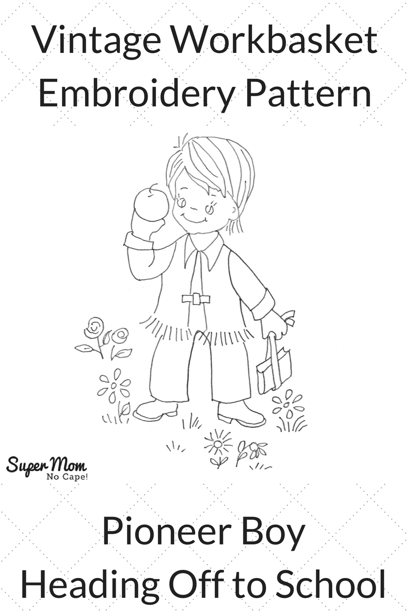 Vintage Workbasket Embroidery Pattern - Pioneer Boy Heading Off to School