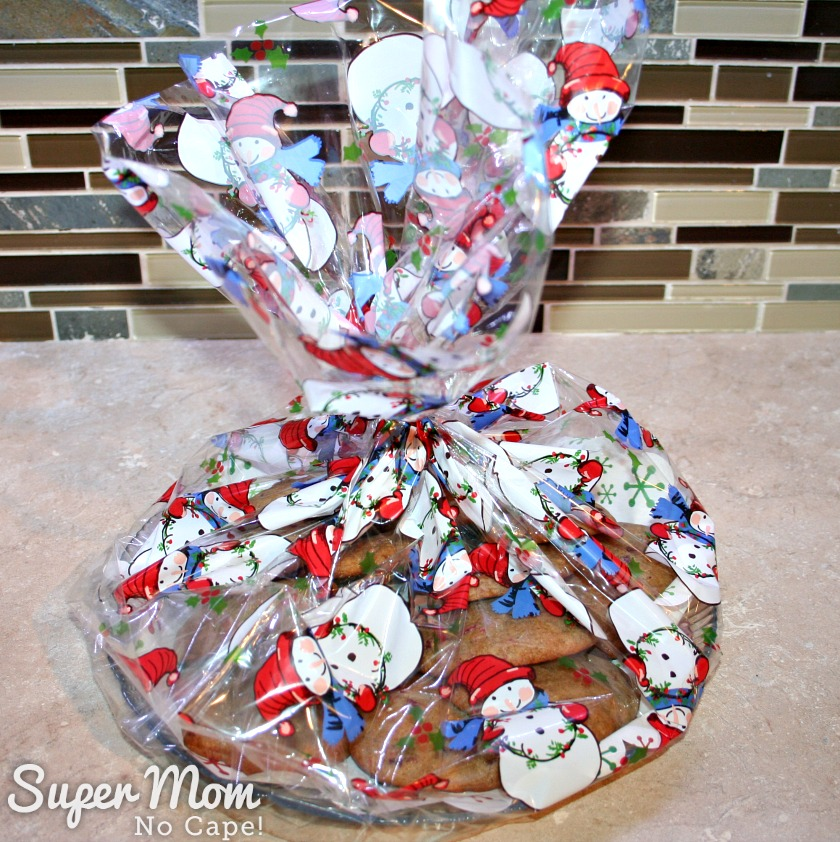 Leftover Cranberries Sauce Drop Cookies - wrapped in snowman cellophane