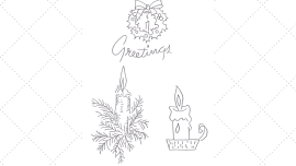 Vintage Workbasket - Embroidery Pattern - Candles and Greetings Wreath