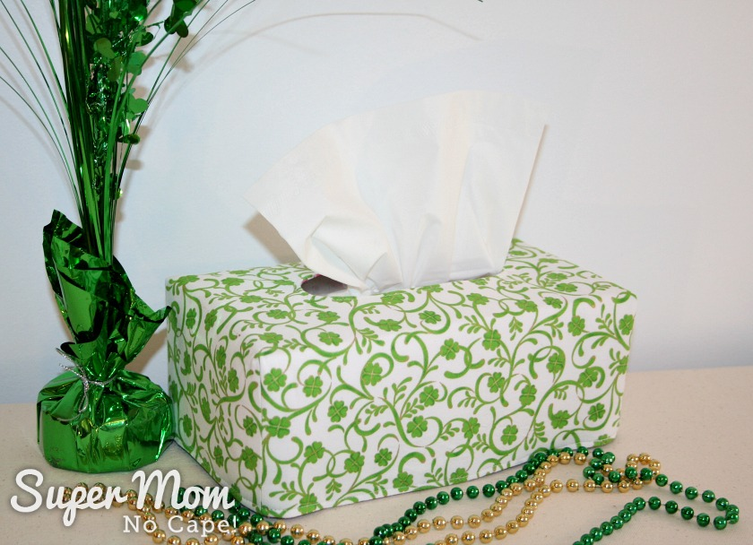 Last Minute Valentine's Gifts to Make - St Patrick's Day side of Reversible Tissue Box Cover