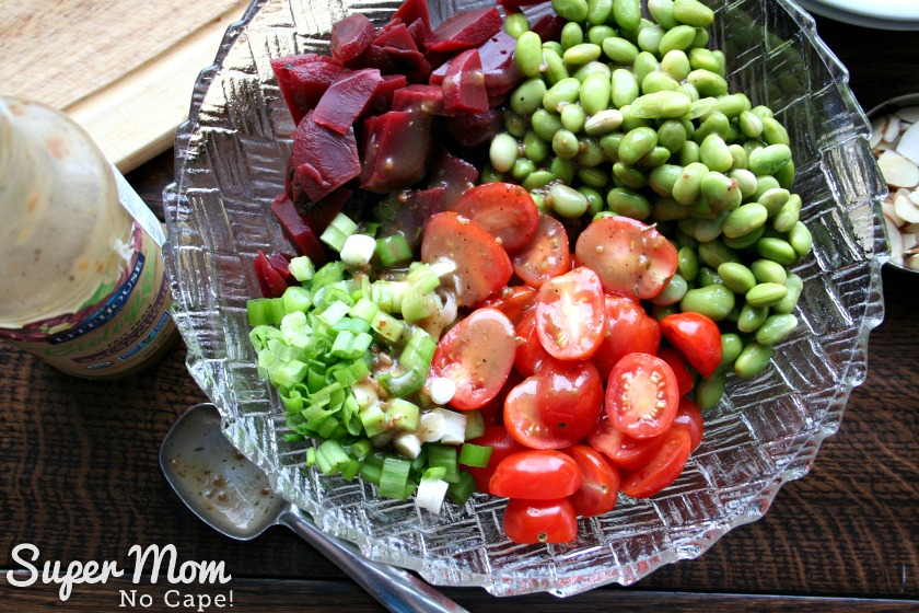 Beet and Edamame Salad - Add 2 to 3 tbsp of Balsamic Vinaigrette