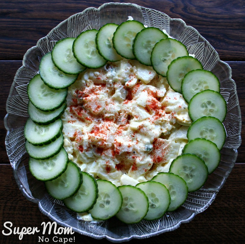Potato Salad to Feed a Crowd - decorate the potato salad with a ring of sliced cucumbers and a sprinkle of paprika