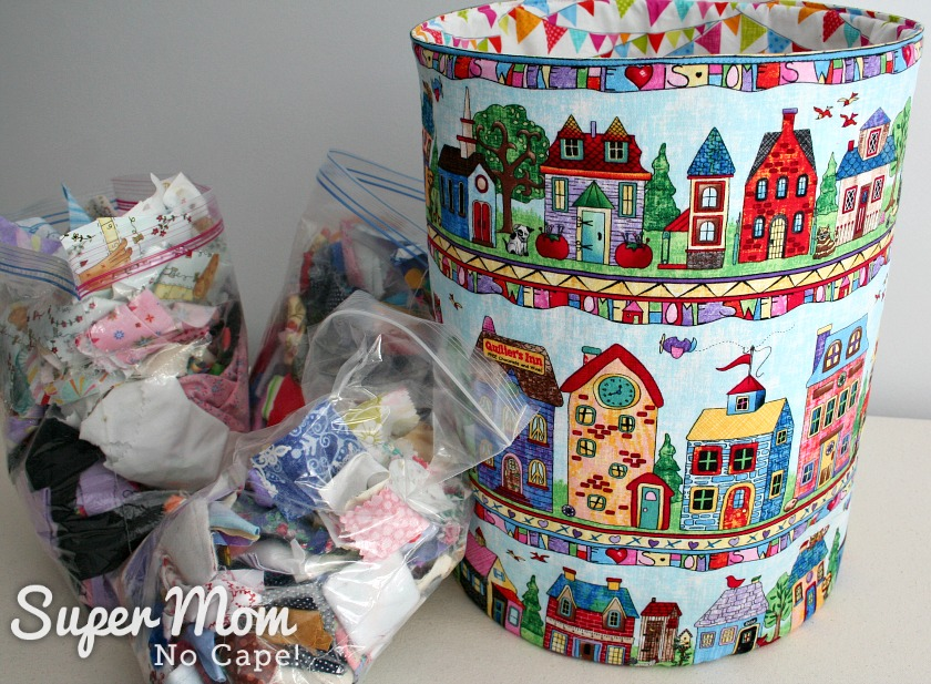 Fabric Scrap Storage - 10.5 inch Fat Quarter Pop_Up using Home Sweet Home fabric with bags of fabric scraps