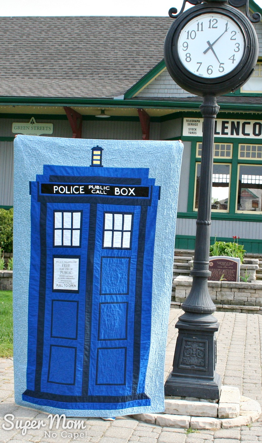 Dr Who Tardis Quilt - beside old town clock
