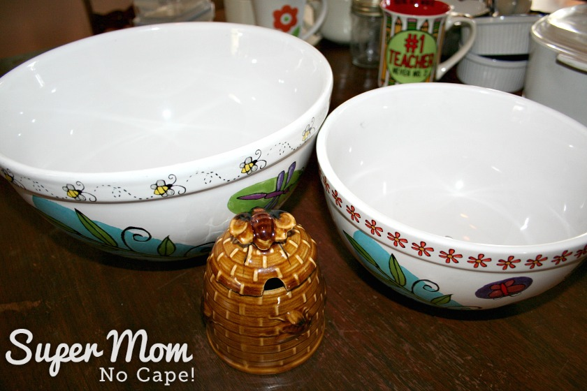 How to Set Up a Kitchen on the Cheap - mixing bowls and honey pot