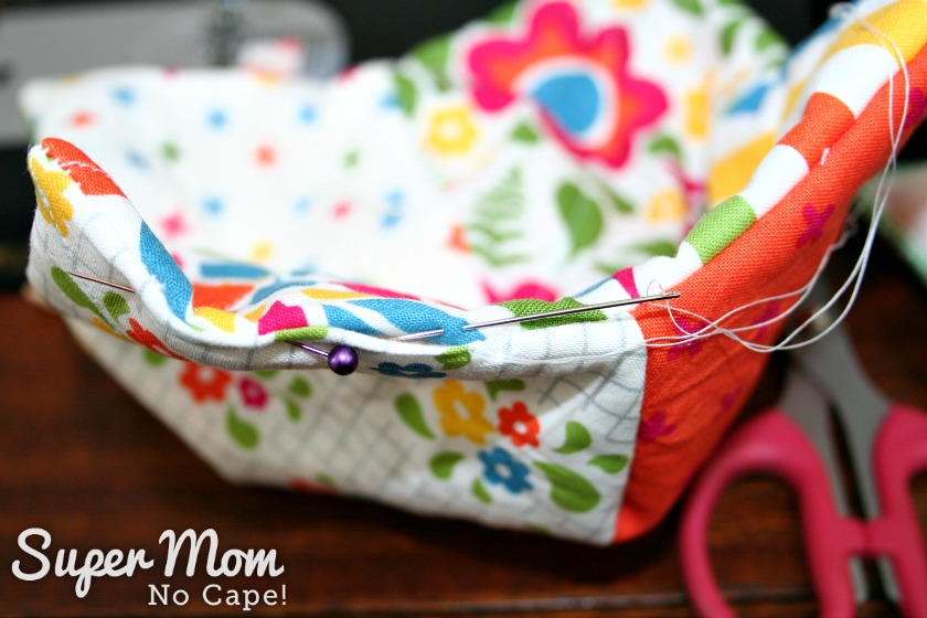 Charm Square Soup Bowl Cozy Tutorial - sew opening closed using a ladder stitch