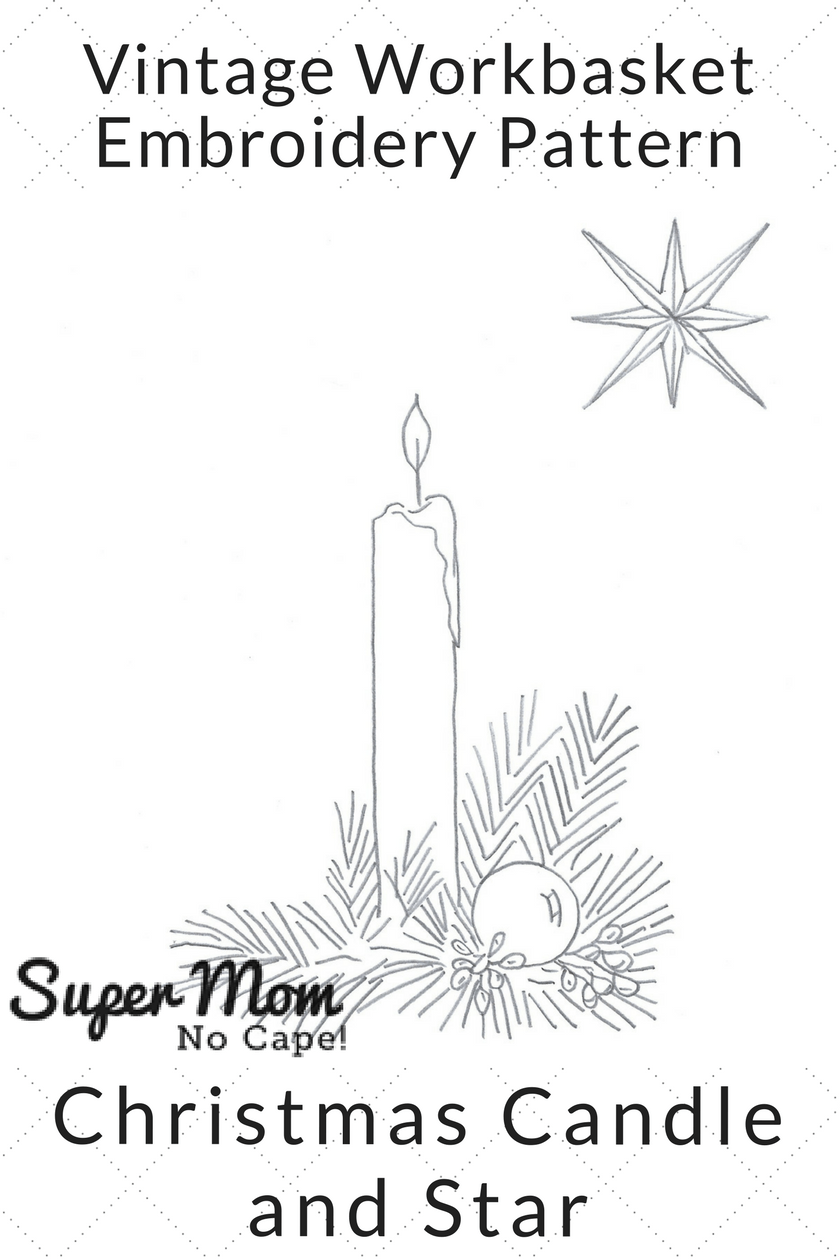 Vintage Workbasket Embroidery Pattern - Christmas Candle and Star