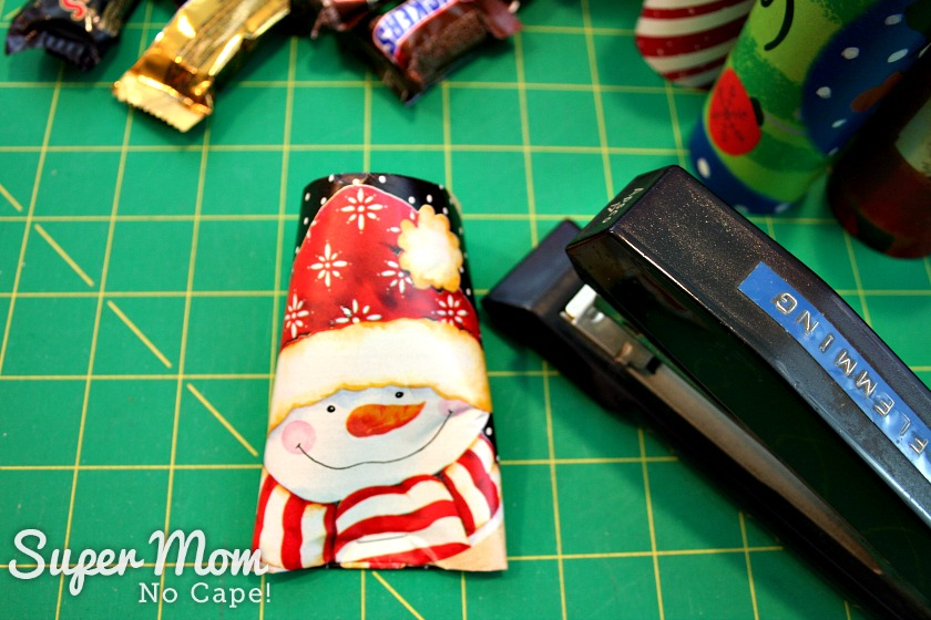Halloween Treat to Christmas Party Favor - Flatten the bottom and staple