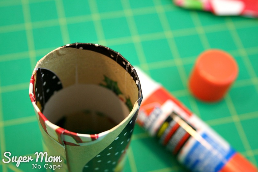 Halloween Treat to Christmas Party Favor - Fold paper to the inside of the tube