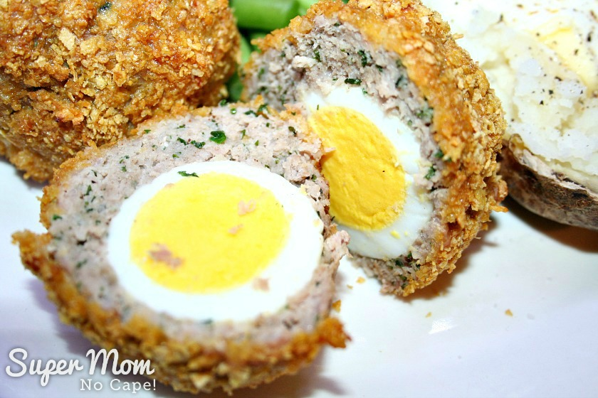 Gluten Free Baked Scotch Eggs - baked scotch egg cut in half