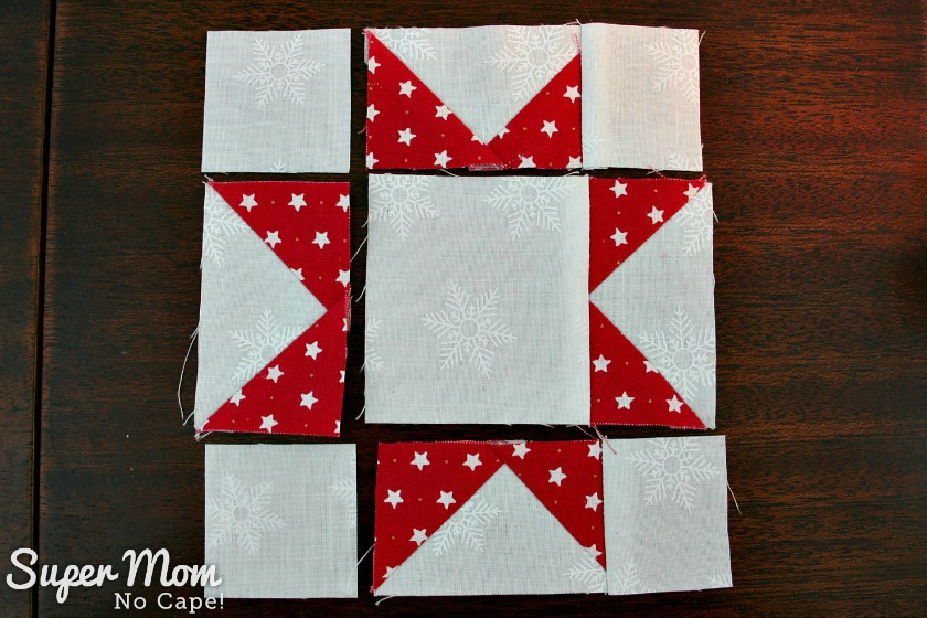 Sawtooth Star with Applique Center Ornament - 16. Lay out the blocks as shown