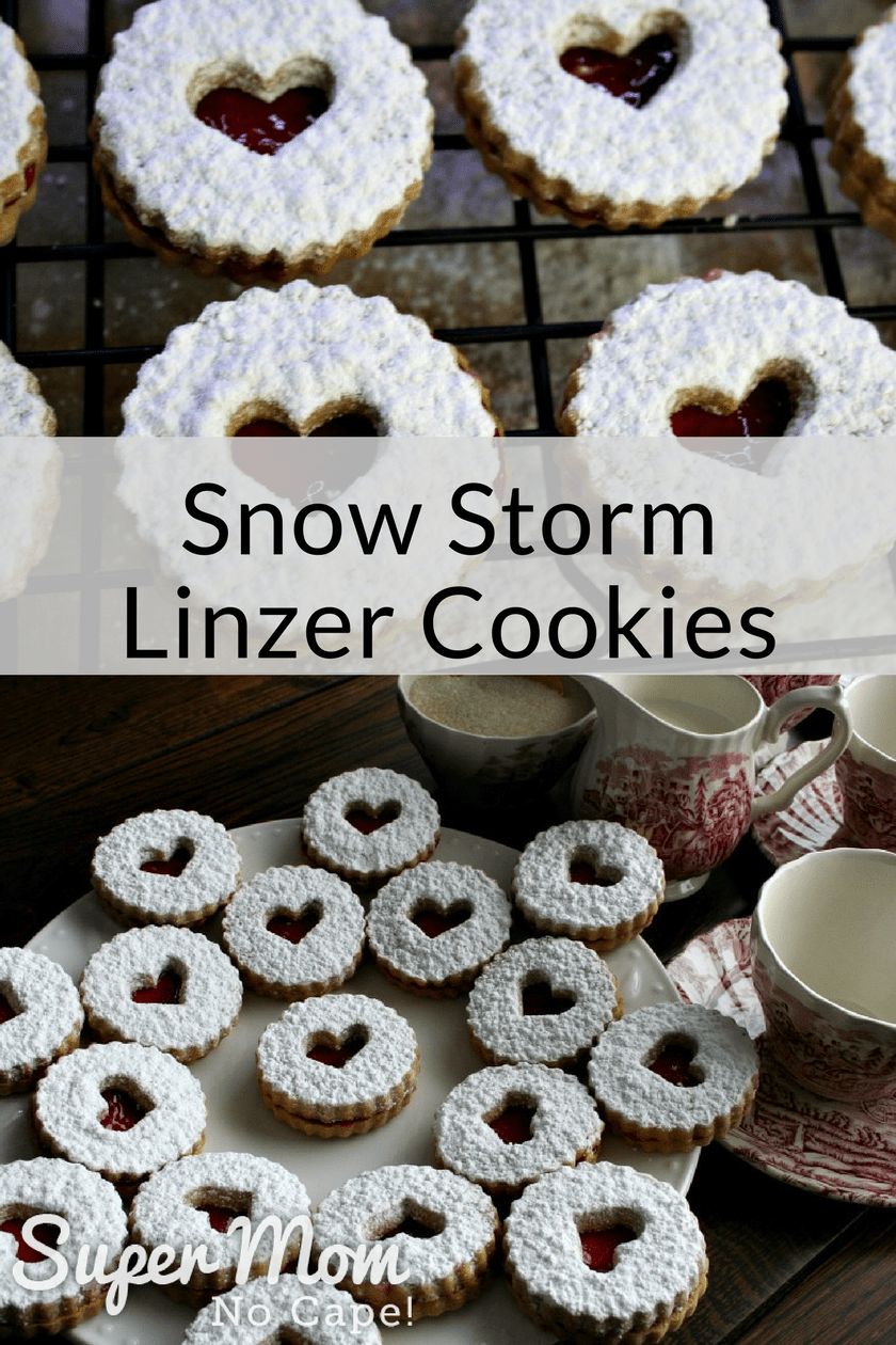 Collage photo of Snow Storm Linzer Cookies on a cookie rack and of the tea party