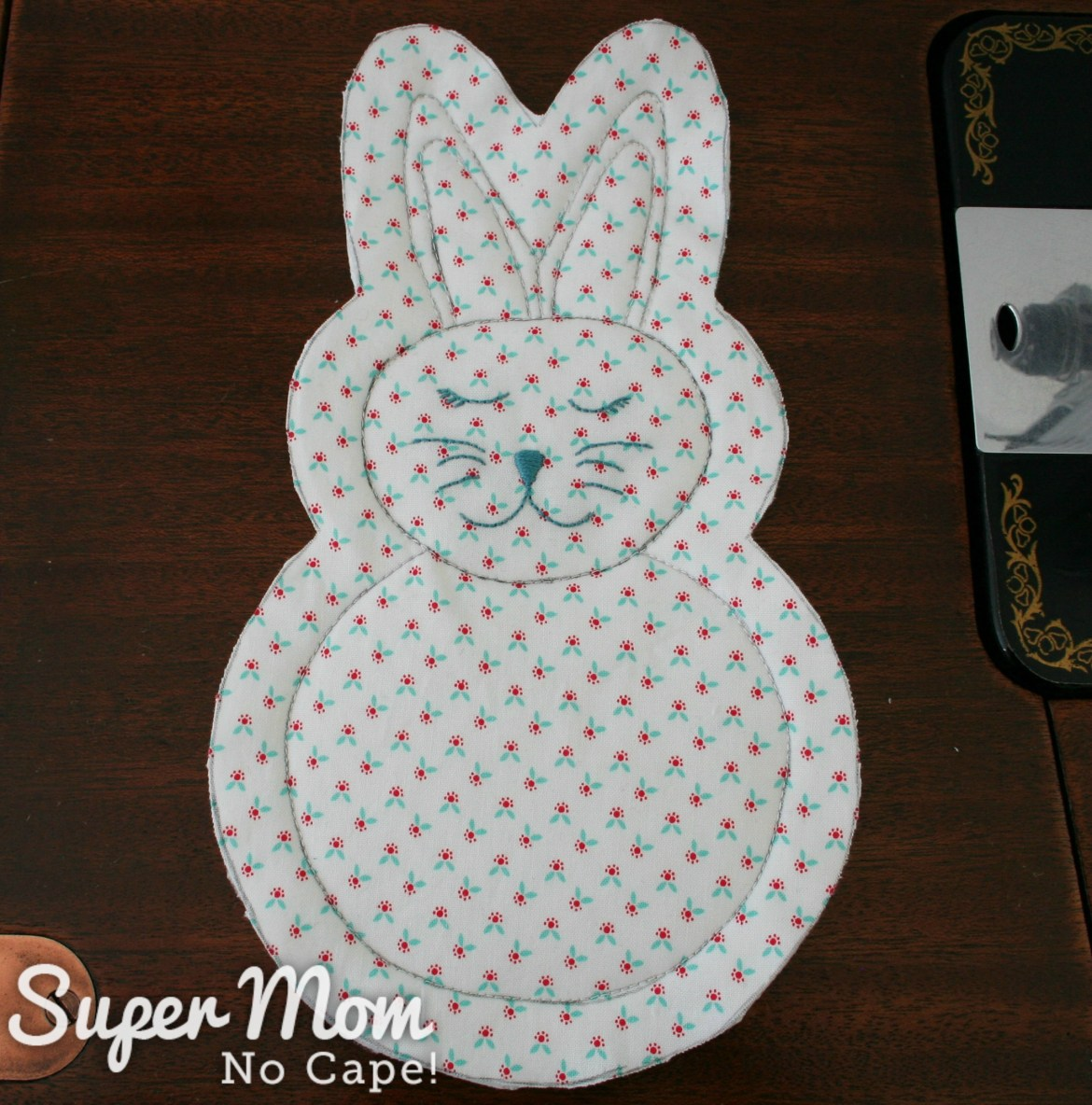 Rag quilt bunny after being cut out of fabric layers