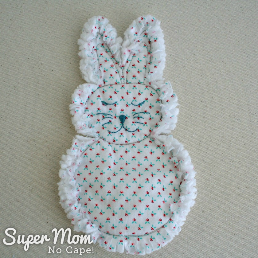Photo of Rag Quilt Bunny after being washed in hot water and dried