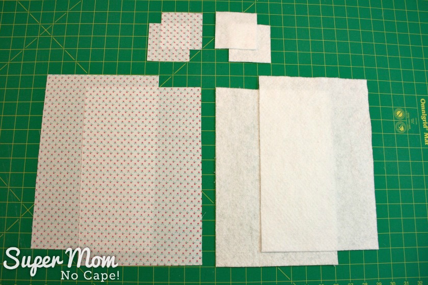 Photo of the fabric and batting after being cut