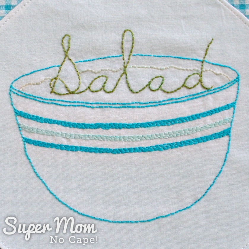 Salad Embroidery Pattern stitched on white fabric