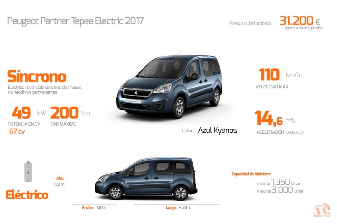 DATOS Peugeot Partner Tepee Electric 2017