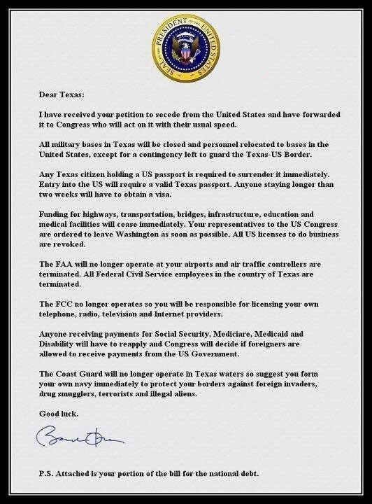 Obama's letter to Texas to Secede